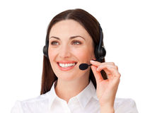 Young customer service agent with headset on Stock Photos