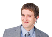 Young customer service agent with headset on Royalty Free Stock Photos