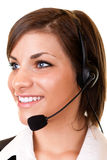 Young customer service girl with headset Royalty Free Stock Images