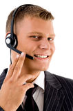 Young customer service operating with headset Stock Image
