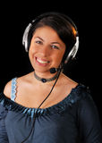 A young customer support representative with heads Stock Image