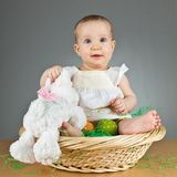 Young cute baby in an easter setting Royalty Free Stock Photos
