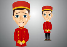 Young cute bellboy waiting for the client Royalty Free Stock Photography