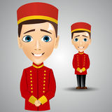 Young cute bellboy waiting for the client Royalty Free Stock Photos