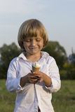 Young cute blond boy eating a tasty ice cream Royalty Free Stock Photos