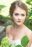 Young cute blonde beautiful bride stock photography