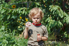 Young cute boy blowing a bubbles outdoors Stock Image