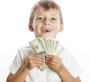 Young cute boy holding lot of cash, american Royalty Free Stock Image