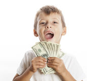 Young cute boy holding lot of cash, american Royalty Free Stock Photo