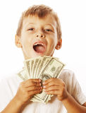 Young cute boy holding lot of cash, american dollars isolated Royalty Free Stock Photos