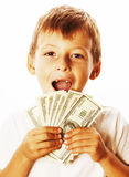 Young cute boy holding lot of cash, american dollars isolated Stock Images