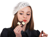 Young cute brunette girl with chocolate Royalty Free Stock Photo