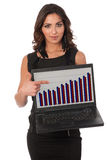 Young cute business woman with laptop Royalty Free Stock Photo