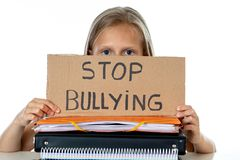 Young cute girl in school bullying abuse concept royalty free stock image