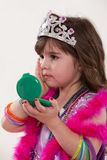 Young cute caucasian toddler girl playing Stock Images