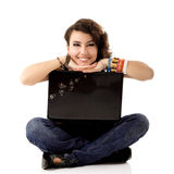 Young cute cheerful woman studing and smiling with notebook Royalty Free Stock Image
