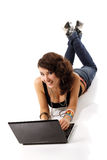 Young cute cheerful woman studing and smiling with notebook Stock Photos