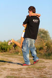 Young cute couple boy and girl. Young cute couple meeting after a long period of time royalty free stock photography