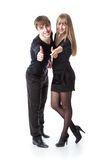 The young cute couple in studio Stock Photography