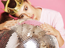 Young cute disco girl like doll on pink background Stock Photos
