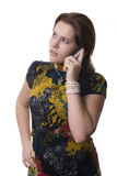 Young cute girl. Talking on the phone Royalty Free Stock Image