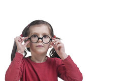 Young cute girl with glasses Royalty Free Stock Photos