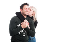 Young cute girl in love embracing her lover Stock Photos