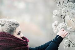 Young cute girl picking winter flowers. Young girl with gray hair and big scarf picking winter flowers Royalty Free Stock Photo