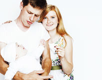 Young cute happy modern family, mother father son isolated on wh Stock Photos