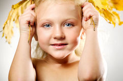 Young cute little girl with orange autumn leaves Royalty Free Stock Photography