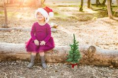 Young Cute Mixed Race Baby Girl Near a Christmas Tree. Cute Mixed Race Young Baby Girl Having Fun With Santa Hat and Christmas Tree Outdoors On Log stock photos
