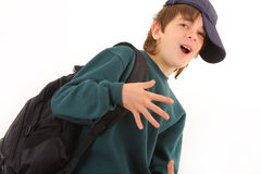 Young cute schoolboy stock image