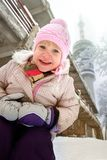 Young cute small child outdoor in winter stock photography