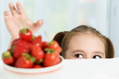 Young cute smiling european little girl is trying to steal ripe jucy strawberry from plate of many berries while she Royalty Free Stock Photography