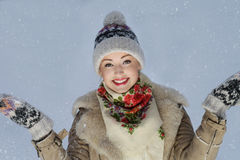 Young cute smiling girl. In winter clothes Royalty Free Stock Images