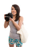 Young cute tourist with camera. Isolated Royalty Free Stock Photos