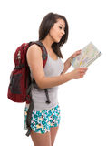 Young cute tourist with map and backpack. Isolated Stock Images