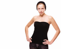 Young cute woman in black clothes Stock Photo