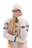 Young cute woman in eyeglasses with beautiful long hair in warm Royalty Free Stock Images