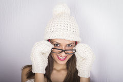 Young cute woman in eyeglasses Stock Images