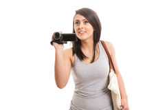 Young cute woman filming. Isolated Stock Images