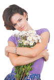 Young cute woman with flowers Royalty Free Stock Photo