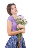 Young cute woman with flowers Royalty Free Stock Photography