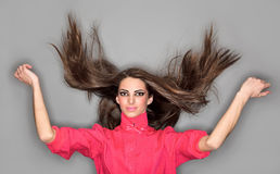 Young cute woman with long hairs Stock Photos
