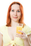 Young cute woman with oranges juice. On a white background Stock Photo
