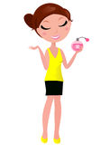 Young cute woman with perfume fragrance Royalty Free Stock Images