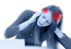 Young cute woman with severe headache Stock Images