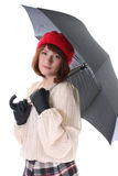 Young cute woman with umbrella over white Royalty Free Stock Photos
