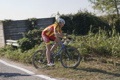 Young cyclist in a competition Royalty Free Stock Photos