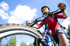 Young cyclist in the park Stock Image